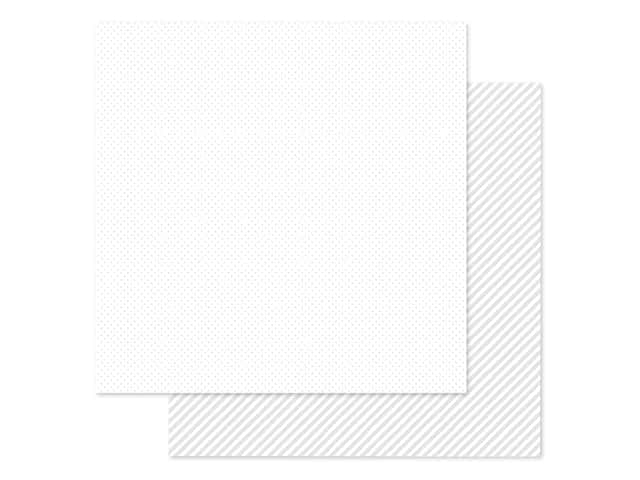 Doodlebug Collection Petite Prints Paper 12 in. x 12 in. Dot/Stripe Lily White