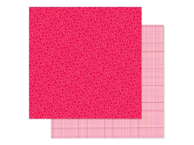 Doodlebug Collection Petite Prints Paper 12 in. x 12 in. Floral/Graph Cherry