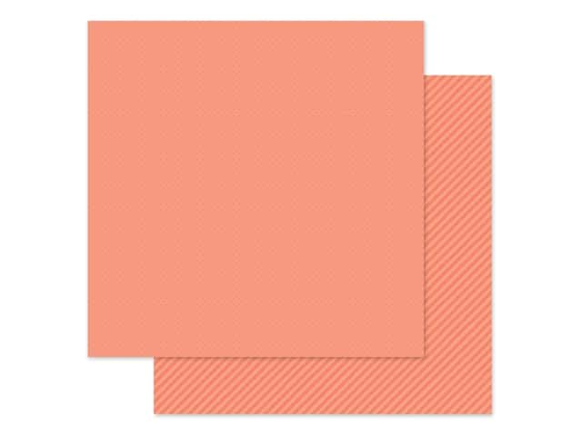 Doodlebug Collection Petite Prints Paper 12 in. x 12 in. Dot/Stripe Coral