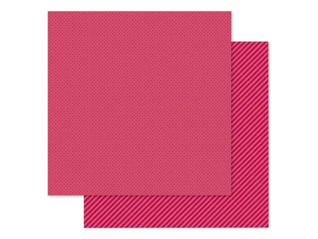 Doodlebug Collection Petite Prints Paper 12 in. x 12 in. Dot/Stripe Ruby