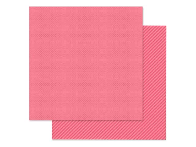 Doodlebug Collection Petite Prints Paper 12 in. x 12 in. Dot/Stripe Cherry