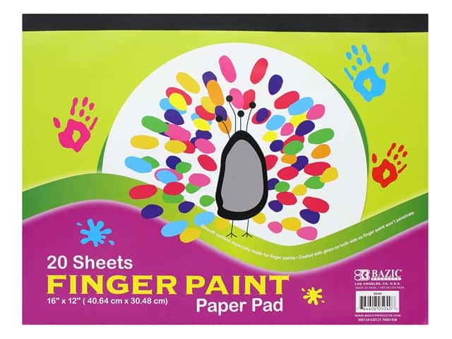 Bazic Basics Finger Paint Paper Pad 16 in. x 12 in. 20 pc