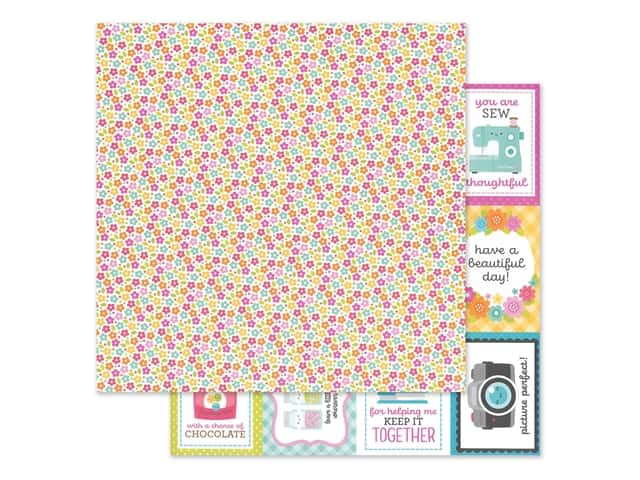 Doodlebug Collection Cute & Crafty Paper 12 in. x 12 in. Precious Posies
