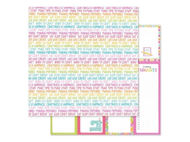 Doodlebug Collection Cute & Crafty Paper 12 in. x 12 in. Happy Thoughts