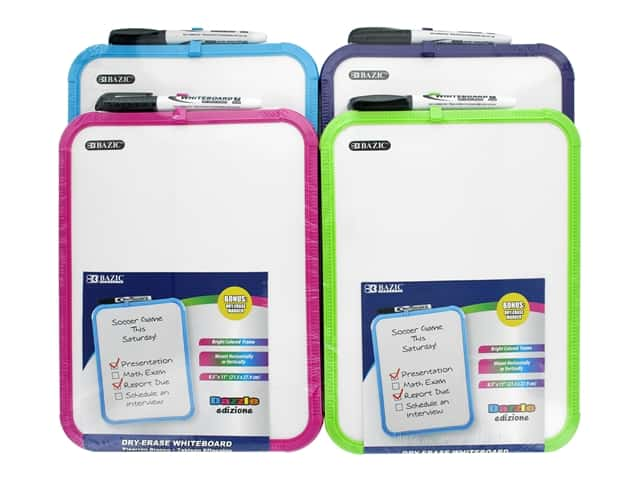 Bazic Basics Dry Erase Board With Marker 11 in. x 14 in. Assorted