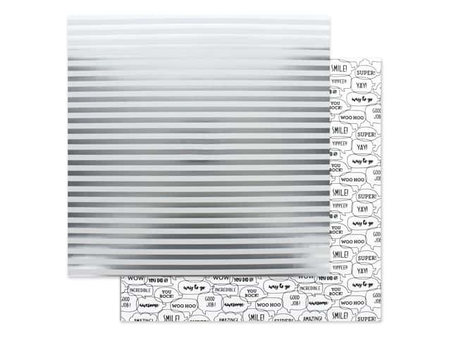 Doodlebug Collection Hats Off Paper 12 in. x 12 in. Sterling Stripes
