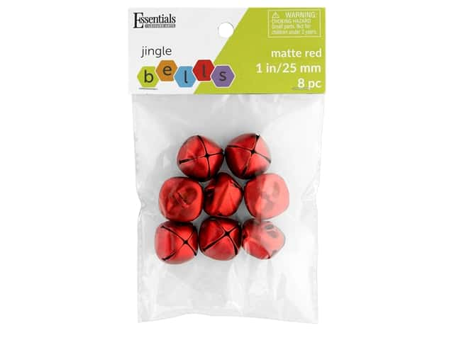 Essentials By Leisure Arts Bell Jingle 25 mm Matte Red 8 pc