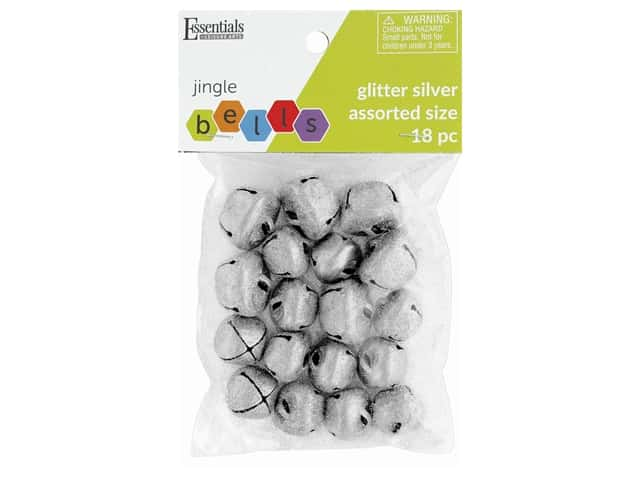Essentials By Leisure Arts Bell Jingle Glitter Assorted Sizes Silver 18 pc