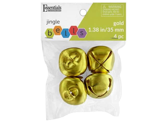 Essentials By Leisure Arts Bell Jingle 35 mm Gold 4 pc