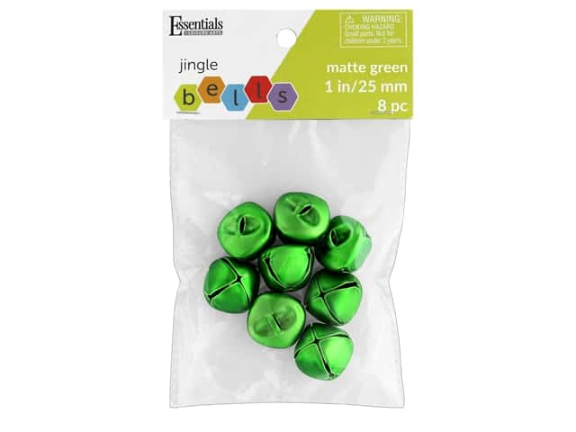 Essentials By Leisure Arts Bell Jingle 25mm Matte Green 8 pc
