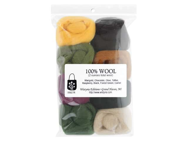 Wistyria Editions 100% Wool Roving 8 pc Leaves