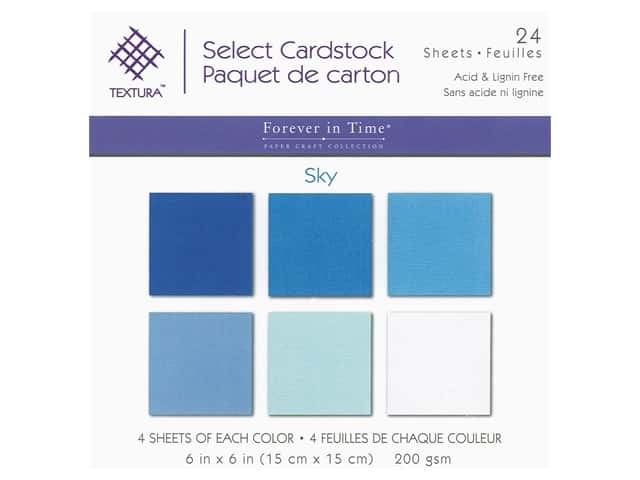 Multicraft Forever In Time Cardstock 6 in. x 6 in. Textura Assorted Sky 24 pc