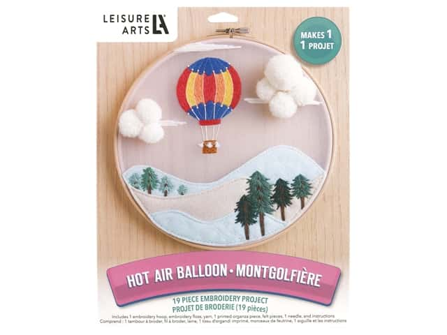Leisure Arts Kit Embroidery 8 in. Hot Air Balloon