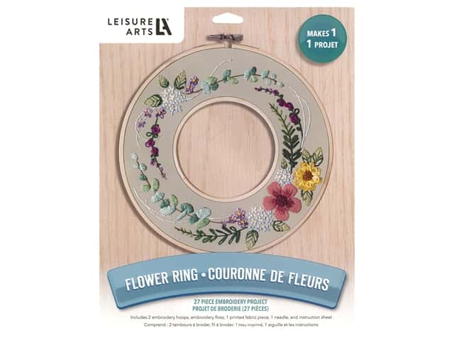 Leisure Arts Kit Embroidery 8 in. Flower Ring
