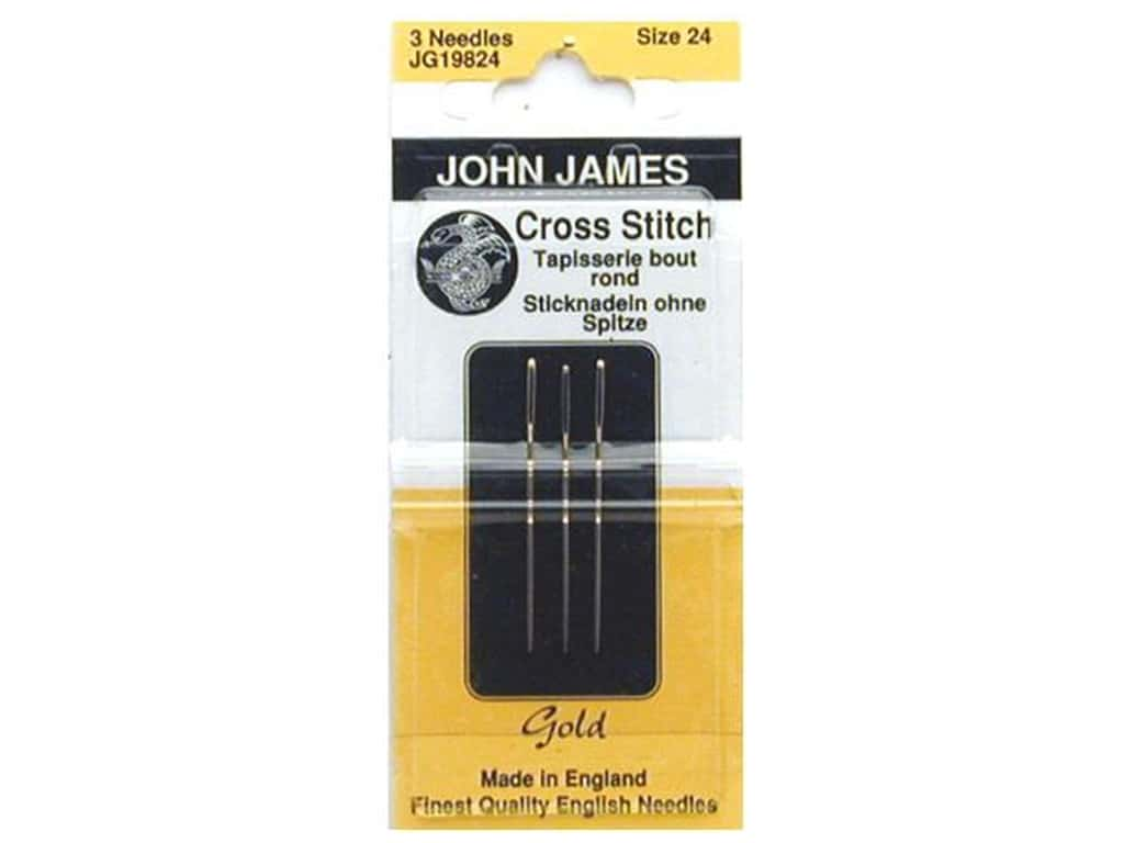 John James Gold Plated Cross Stitch Needles Size 24 3 pc.