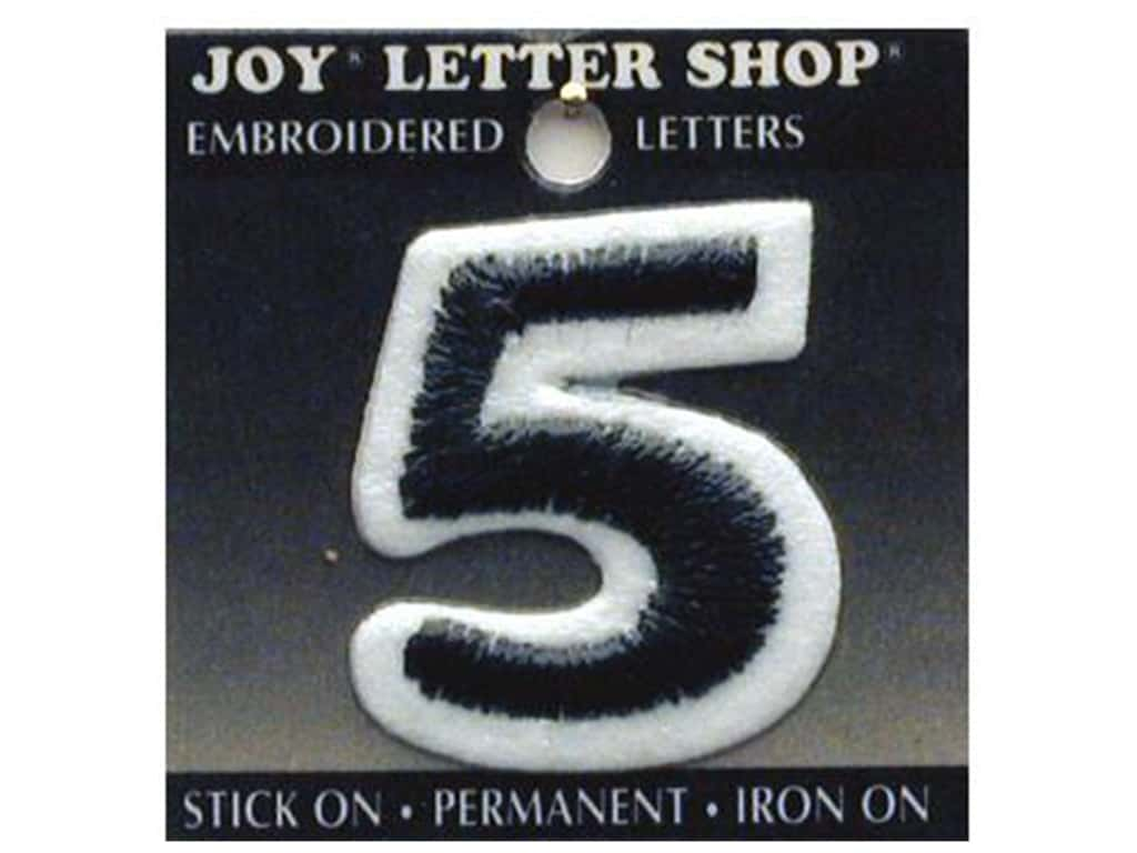 "Joy Lettershop Iron-On Number ""5"" Embroidered 1 1/2 in. Black"