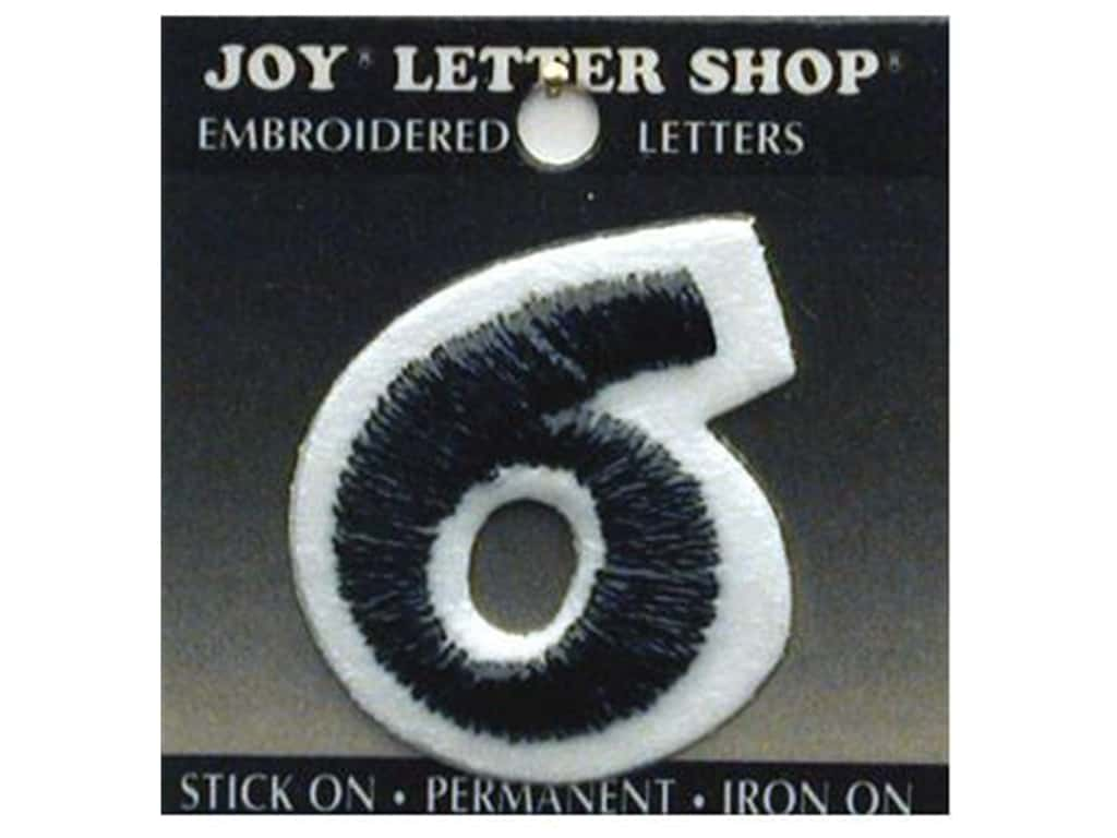 "Joy Lettershop Iron-On Number ""6"" Embroidered 1 1/2 in. Black"