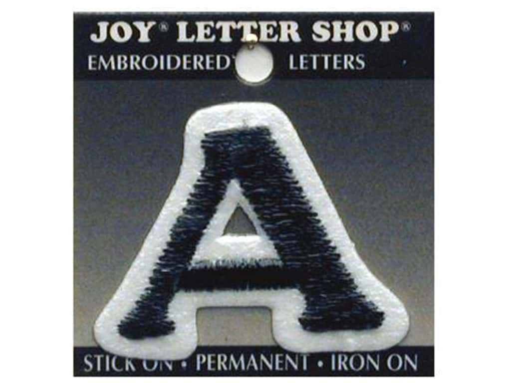 "Joy Lettershop Iron-On Letter ""A"" Embroidered 1 1/2 in. Black"