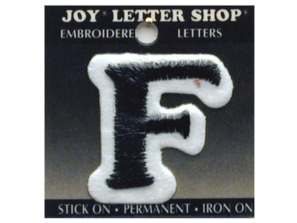 """Joy Lettershop Iron-On Letter """"F"""" Embroidered 1 1/2 in. Black"""