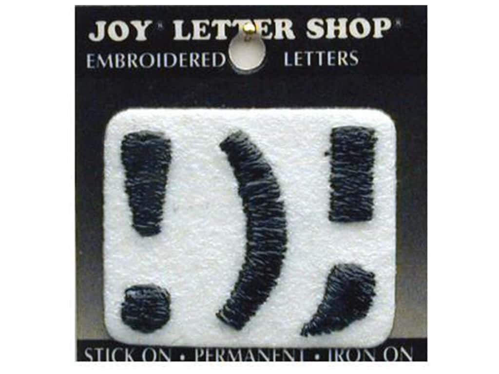 "Joy Lettershop Iron-On Number ""!);"" Embroidered 1 1/2 in. Black"