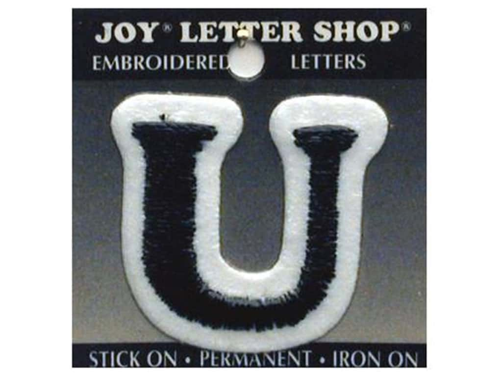 "Joy Lettershop Iron-On Letter ""U"" Embroidered 1 1/2 in. Black"