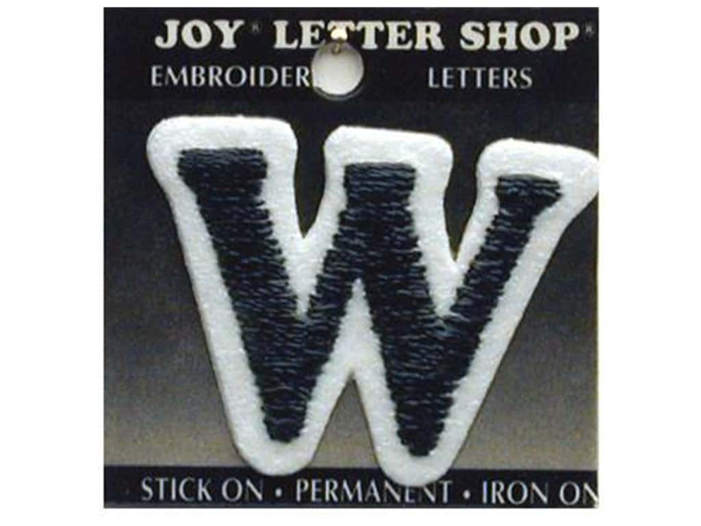 "Joy Lettershop Iron-On Letter ""W"" Embroidered 1 1/2 in. Black"