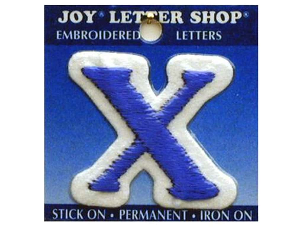 "Joy Lettershop Iron-On Letter ""X"" Embroidered 1 1/2 in. Blue"