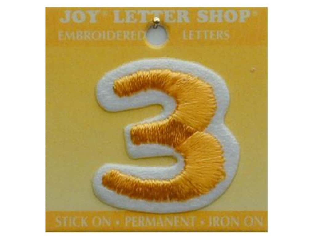 "Joy Lettershop Iron-On Number ""3"" Embroidered 1 1/2 in. Gold"