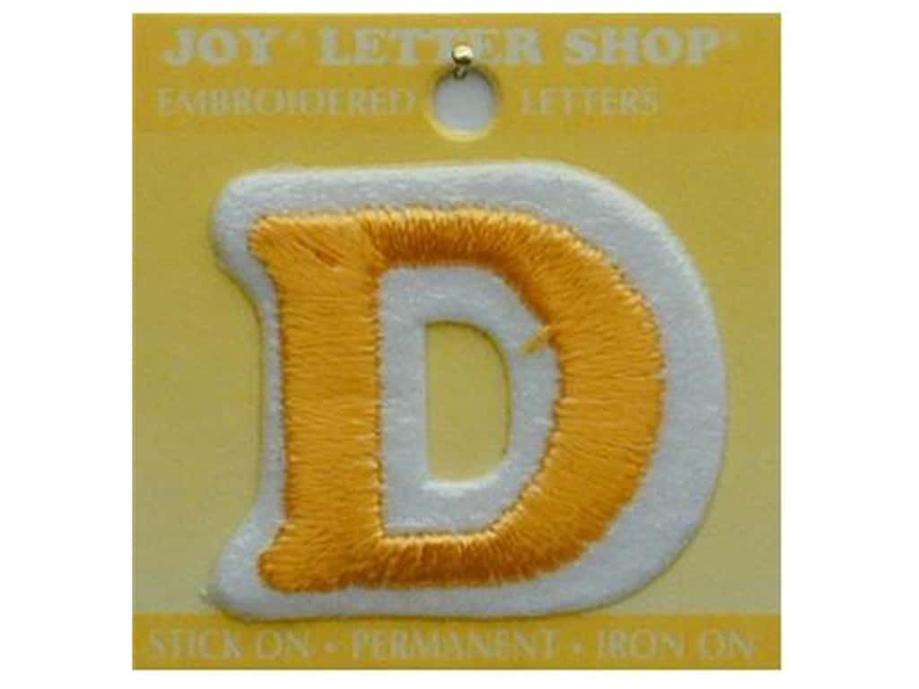 """Joy Lettershop Iron-On Letter """"D"""" Embroidered 1 1/2 in. Gold"""