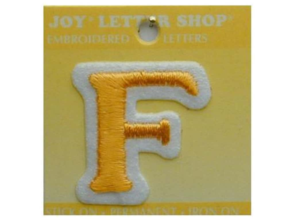 """Joy Lettershop Iron-On Letter """"F"""" Embroidered 1 1/2 in. Gold"""
