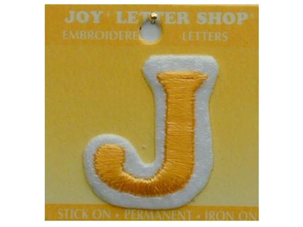 "Joy Lettershop Iron-On Letter ""J"" Embroidered 1 1/2 in. Gold"