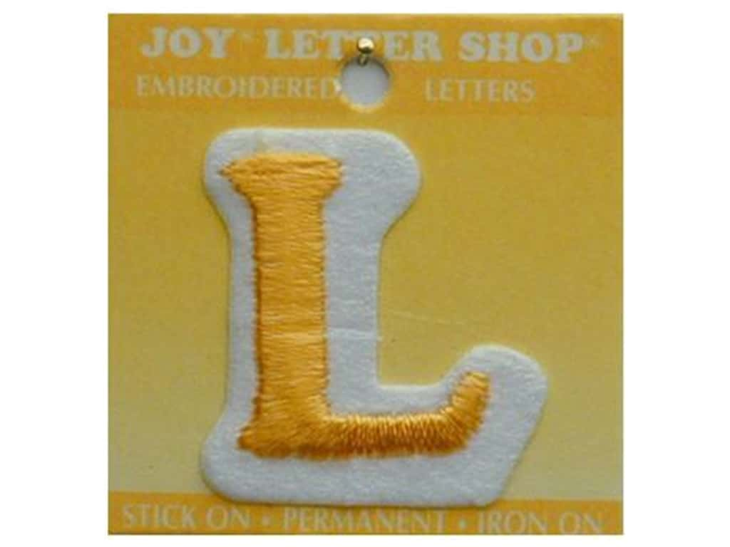 """Joy Lettershop Iron-On Letter """"L"""" Embroidered 1 1/2 in. Gold"""