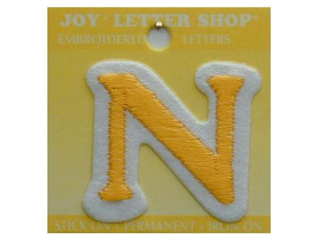 "Joy Lettershop Iron-On Letter ""N"" Embroidered 1 1/2 in. Gold"