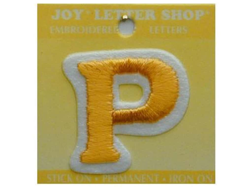 """Joy Lettershop Iron-On Letter """"P"""" Embroidered 1 1/2 in. Gold"""