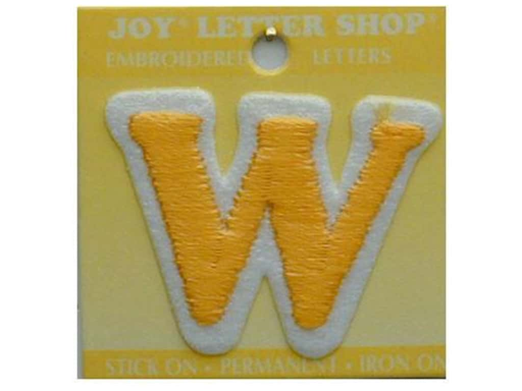 "Joy Lettershop Iron-On Letter ""W"" Embroidered 1 1/2 in. Gold"