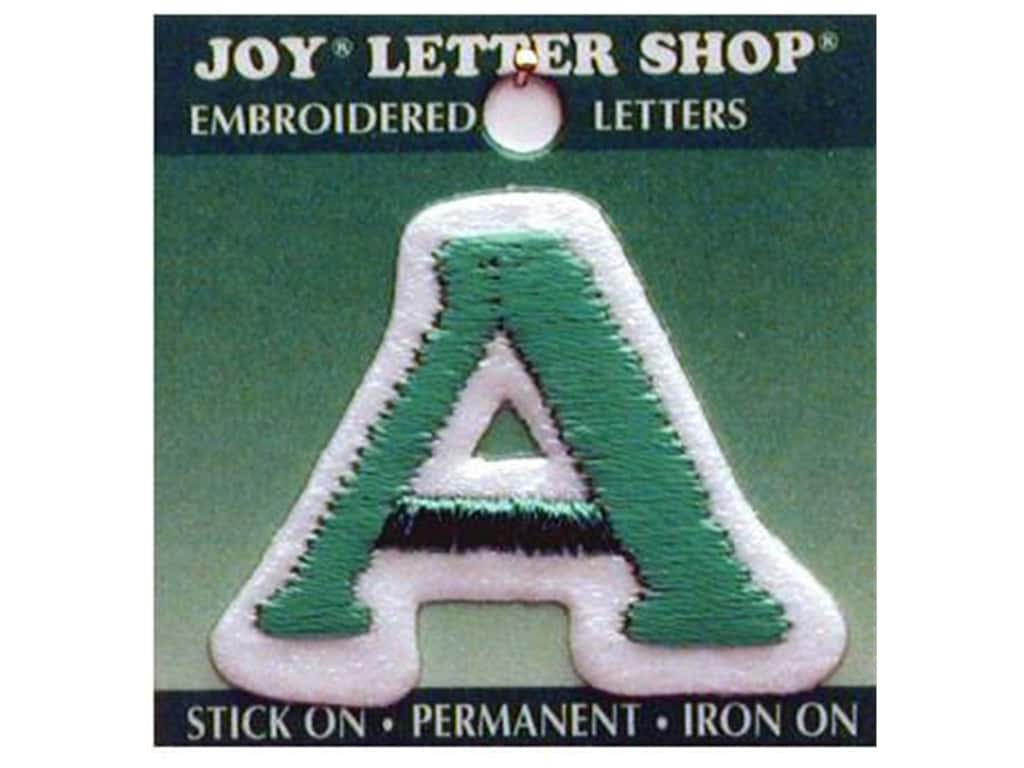 """Joy Lettershop Iron-On Letter """"A"""" Embroidered 1 1/2 in. Green"""