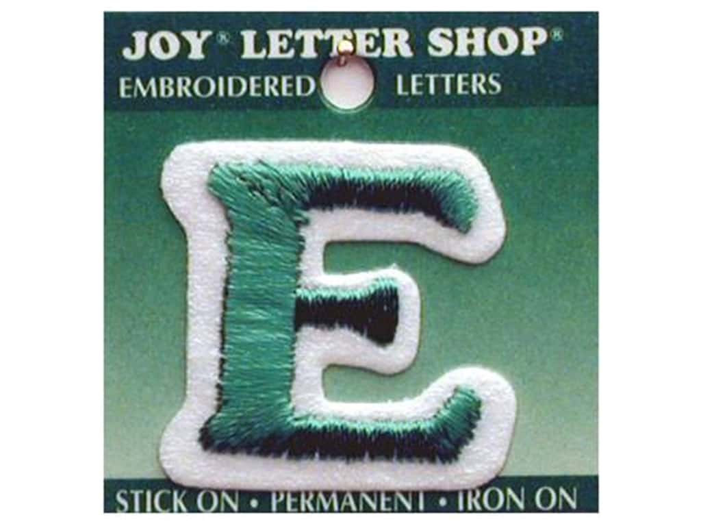 """Joy Lettershop Iron-On Letter """"E"""" Embroidered 1 1/2 in. Green"""