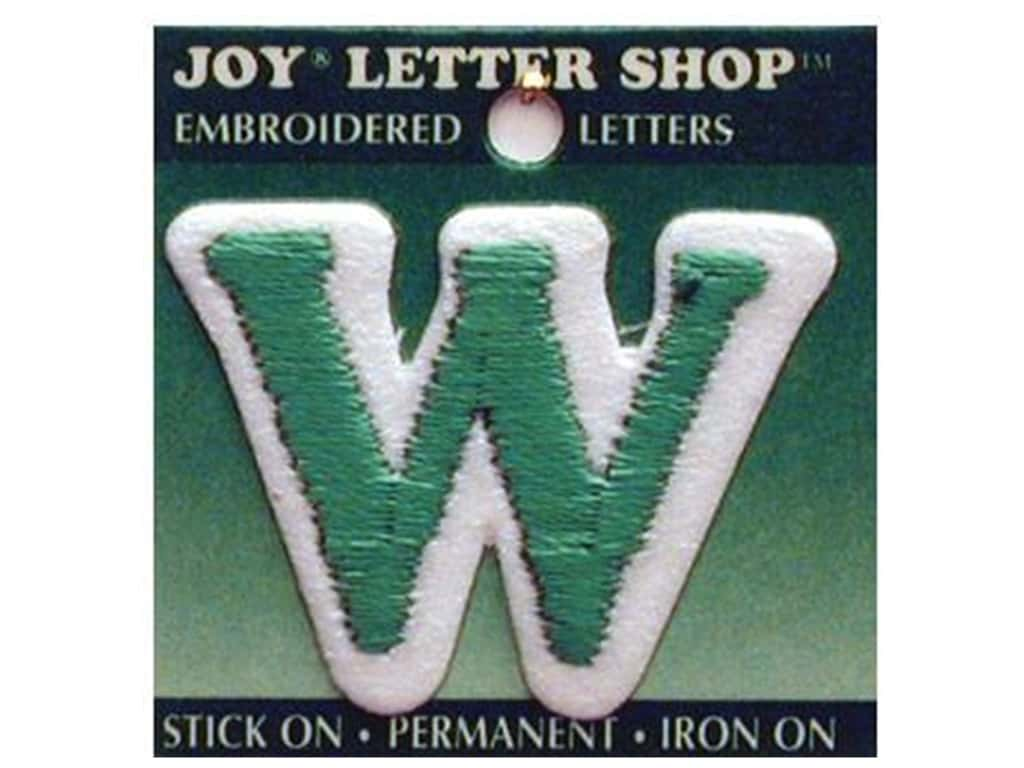 """Joy Lettershop Iron-On Letter """"W"""" Embroidered 1 1/2 in. Green"""
