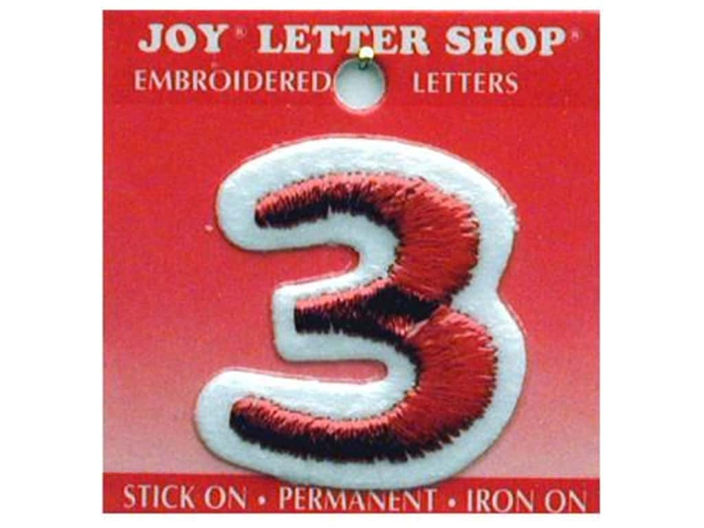 """Joy Lettershop Iron-On Number """"3"""" Embroidered 1 1/2 in. Red"""