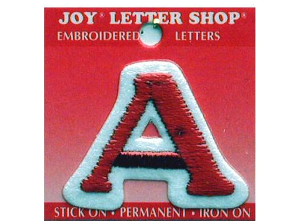 """Joy Lettershop Iron-On Letter """"A"""" Embroidered 1 1/2 in. Red"""