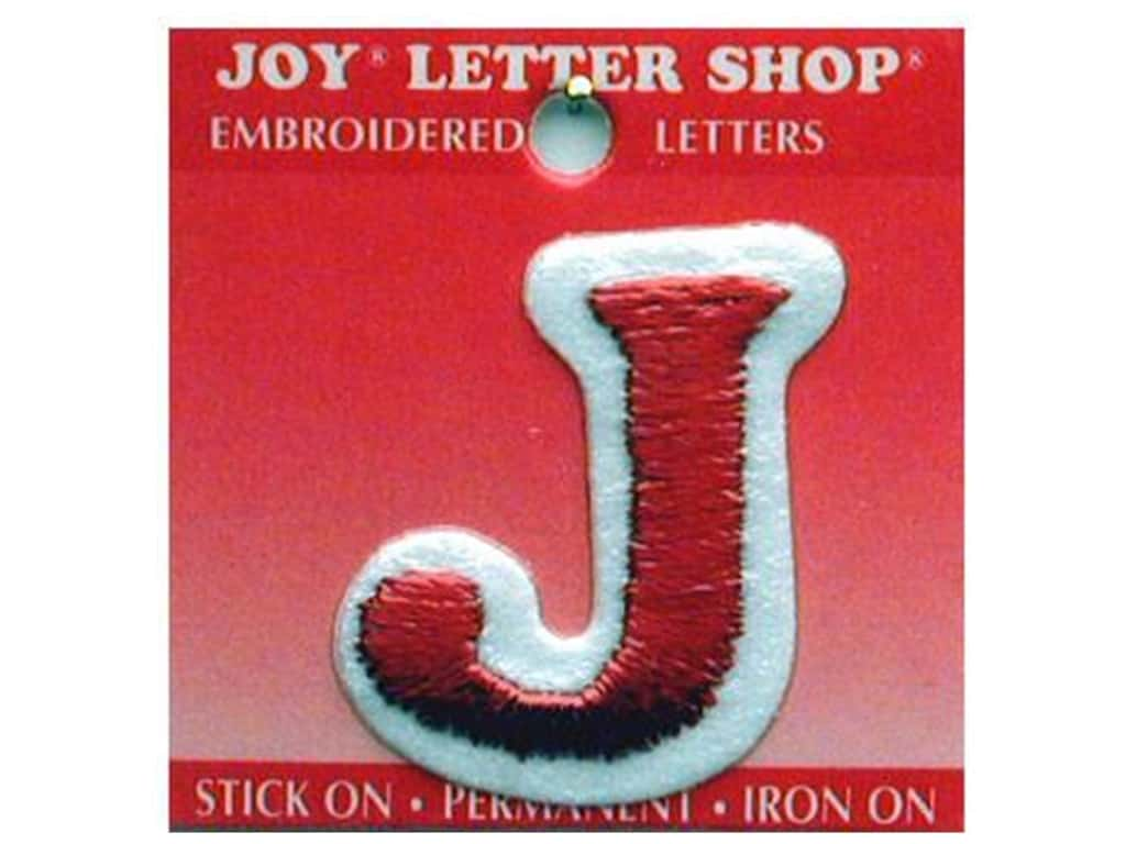 """Joy Lettershop Iron-On Letter """"J"""" Embroidered 1 1/2 in. Red"""