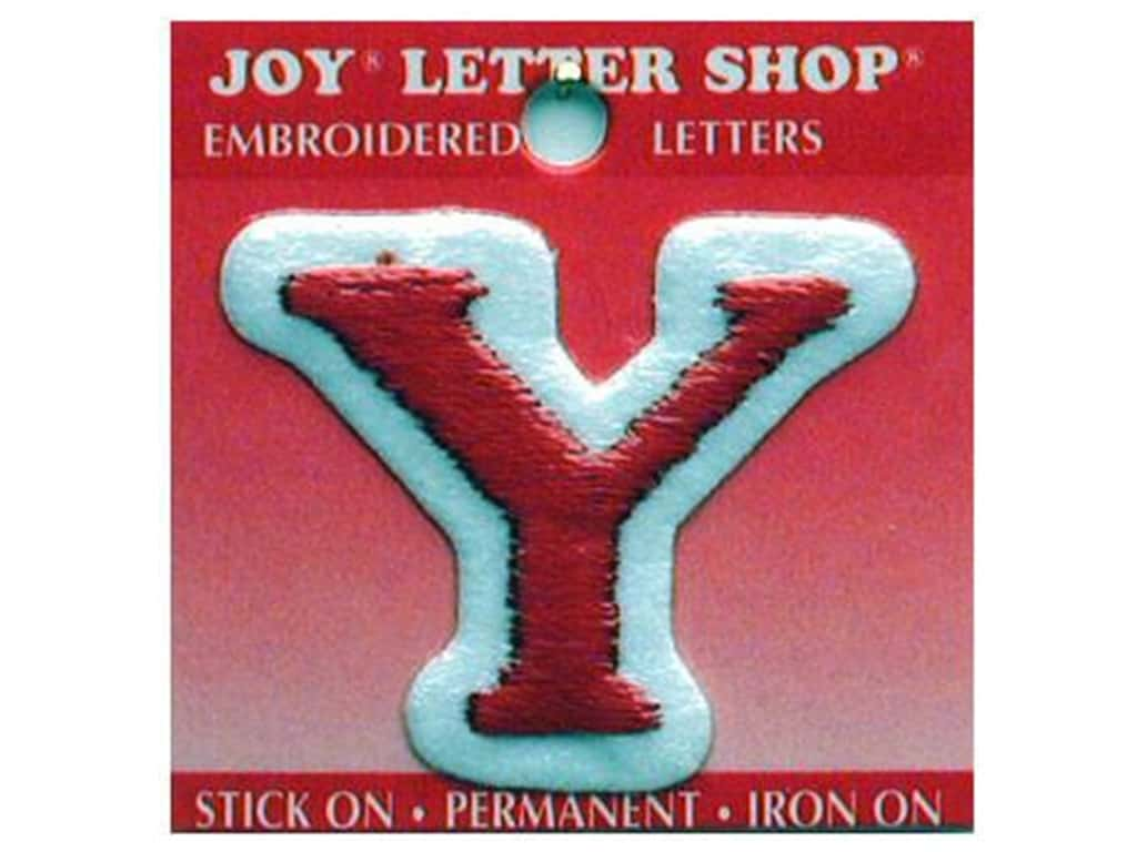 """Joy Lettershop Iron-On Letter """"Y"""" Embroidered 1 1/2 in. Red"""