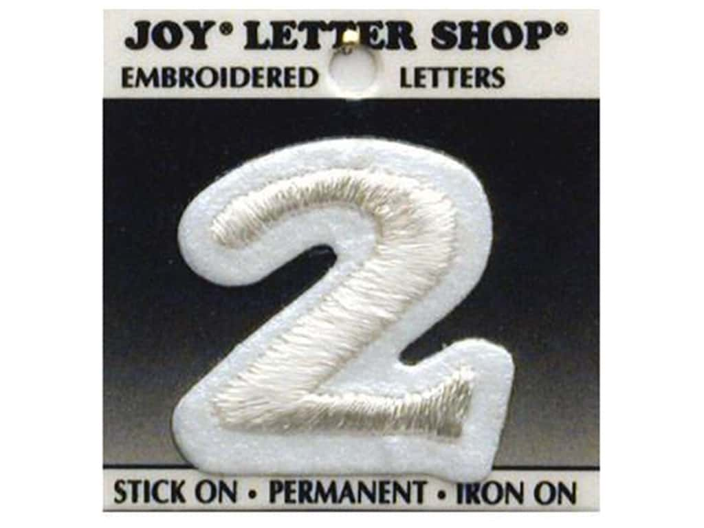 "Joy Lettershop Iron-On Number  ""2"" Embroidered 1 1/2 in. White"