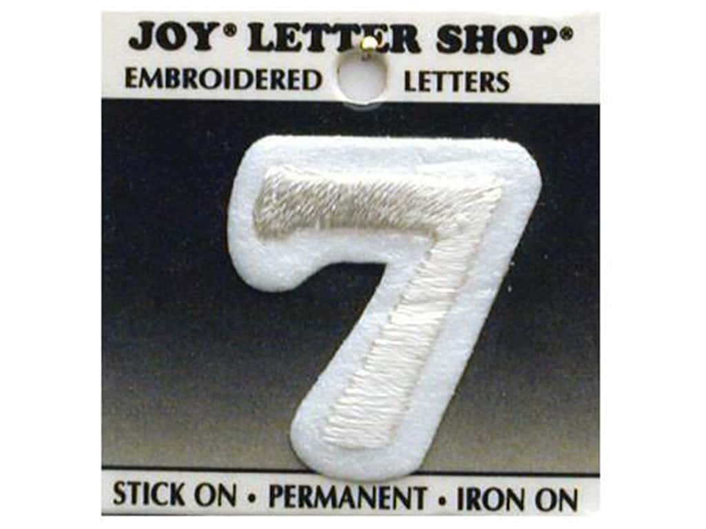 "Joy Lettershop Iron-On Number  ""7"" Embroidered 1 1/2 in. White"