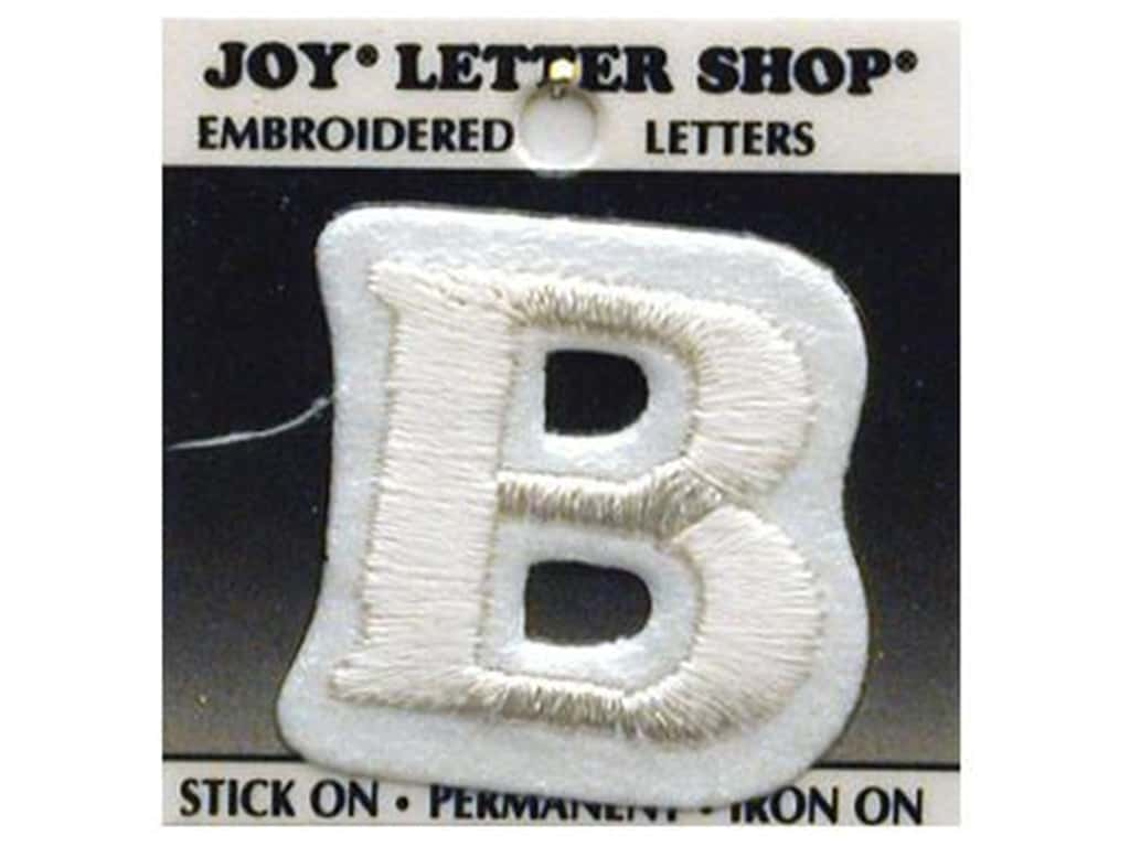 "Joy Lettershop Iron-On Letter ""B"" Embroidered 1 1/2 in. White"