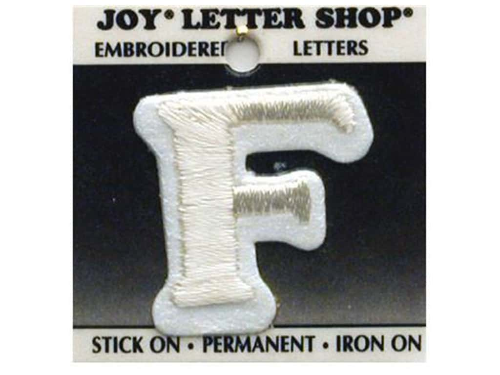 "Joy Lettershop Iron-On Letter ""F"" Embroidered 1 1/2 in. White"