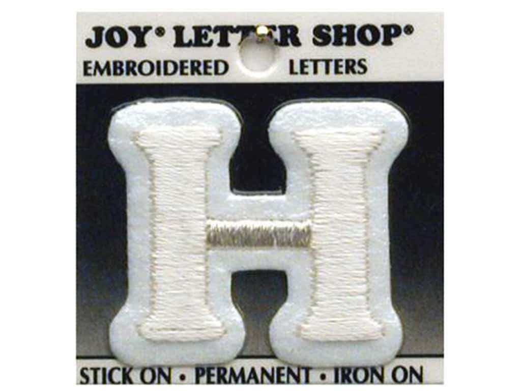 """Joy Lettershop Iron-On Letter """"H"""" Embroidered 1 1/2 in. White"""