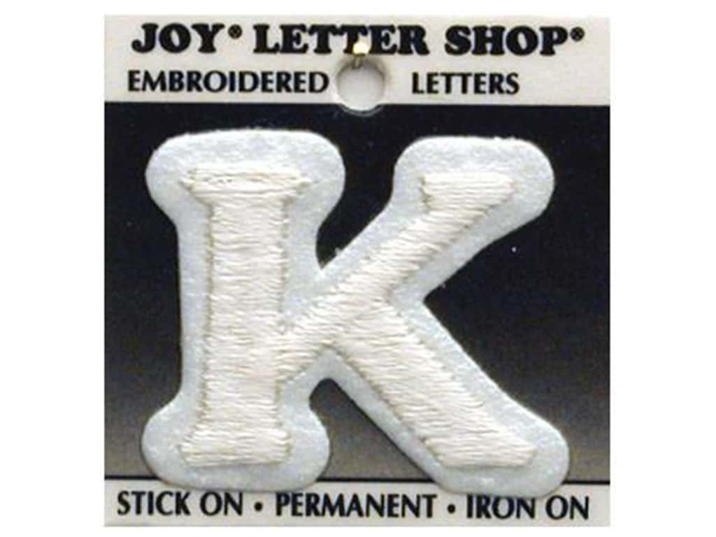 "Joy Lettershop Iron-On Letter ""K"" Embroidered 1 1/2 in. White"