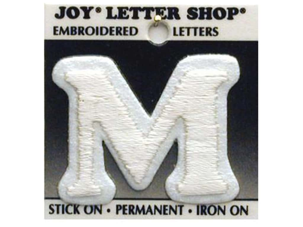 "Joy Lettershop Iron-On Letter ""M"" Embroidered 1 1/2 in. White"