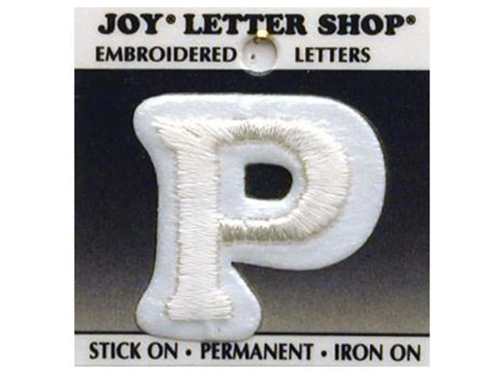 "Joy Lettershop Iron-On Letter ""P"" Embroidered 1 1/2 in. White"